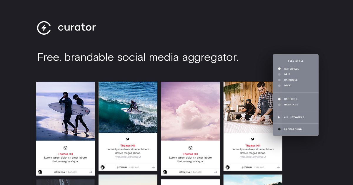 Social Media Aggregator for Websites and Events - Curator io